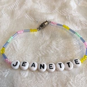 "JEANETTE 7"" personalized name bracelet-NEW"